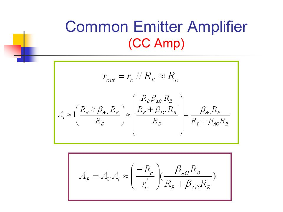 Common Emitter Amplifier (CC Amp)