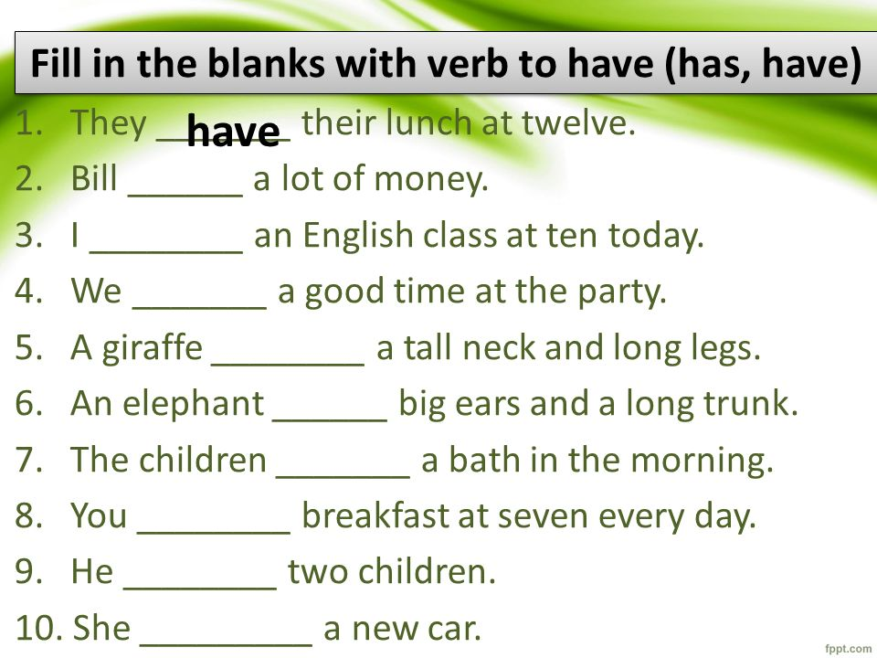 Fill in the blanks with verb to have (has, have)