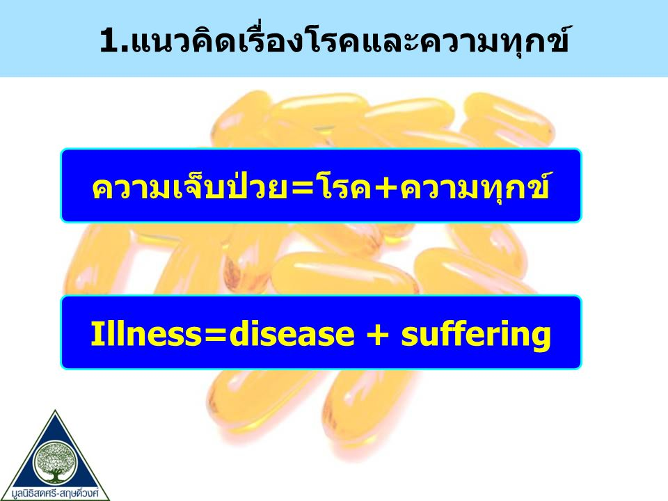 1.แนวคิดเรื่องโรคและความทุกข์