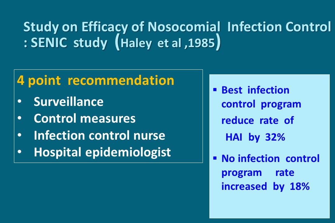 Study on Efficacy of Nosocomial Infection Control : SENIC study (Haley et al ,1985)