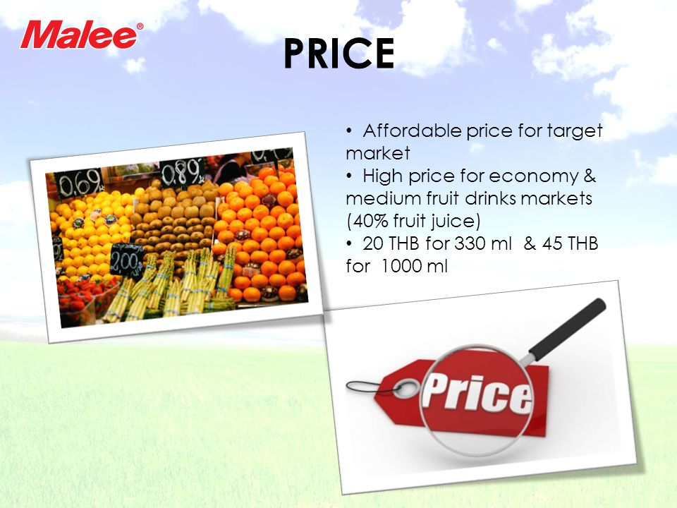 PRICE Affordable price for target market