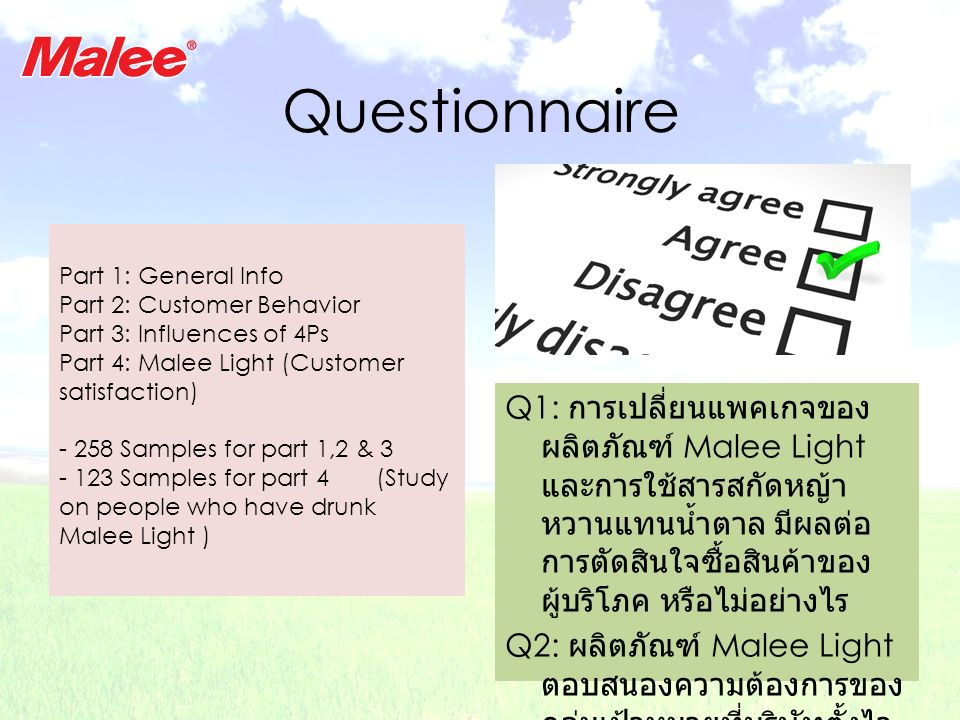 Questionnaire Part 1: General Info. Part 2: Customer Behavior. Part 3: Influences of 4Ps. Part 4: Malee Light (Customer satisfaction)