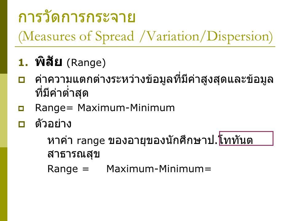 การวัดการกระจาย (Measures of Spread /Variation/Dispersion)