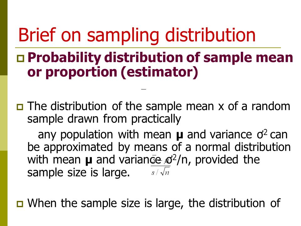 Brief on sampling distribution