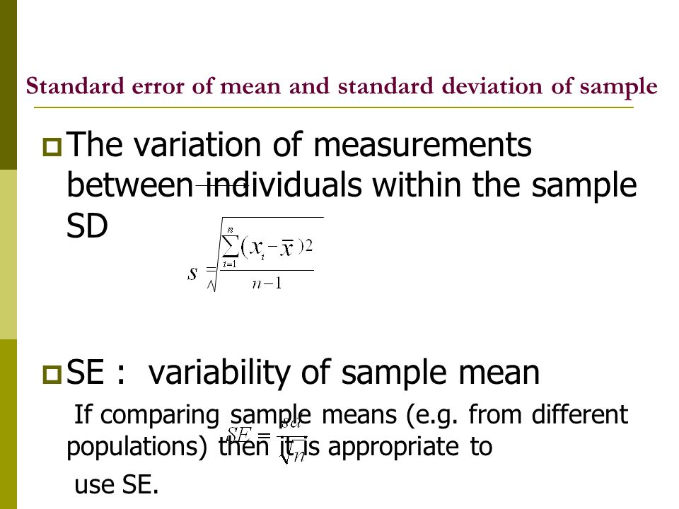 Standard error of mean and standard deviation of sample