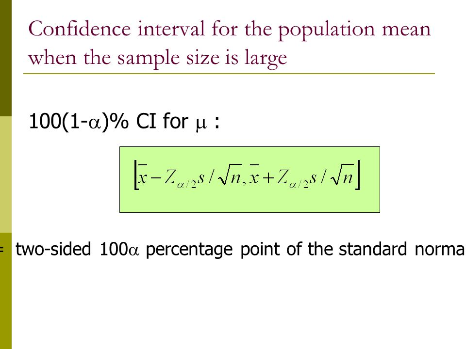 Confidence interval for the population mean when the sample size is large