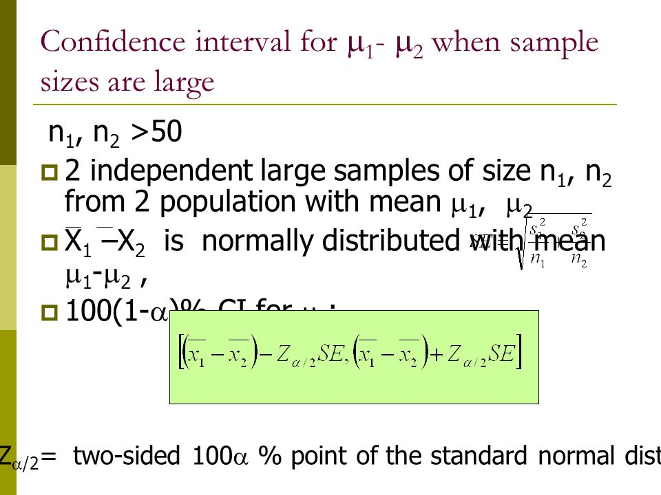 Confidence interval for 1- 2 when sample sizes are large