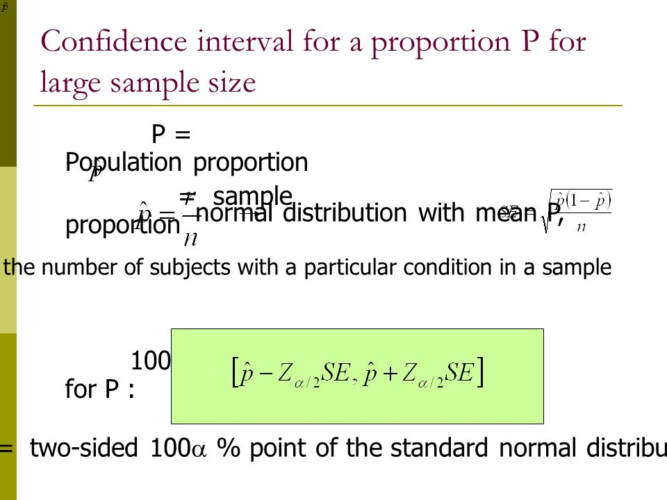 Confidence interval for a proportion P for large sample size