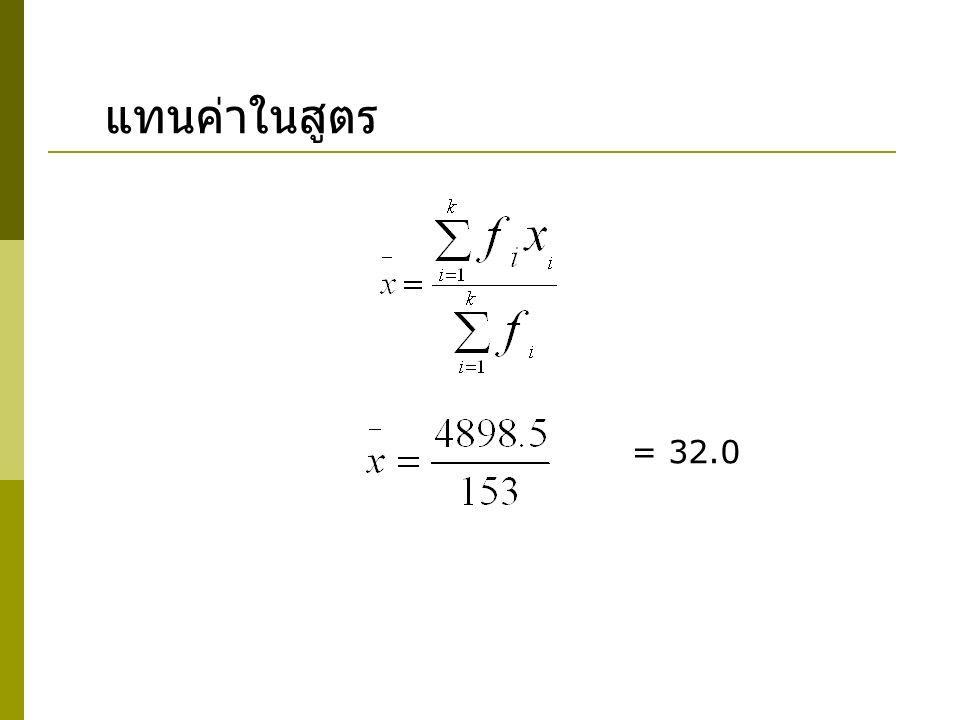 แทนค่าในสูตร = 32.0