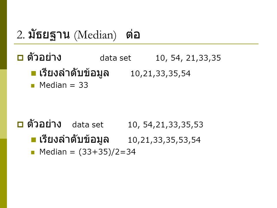 2. มัธยฐาน (Median) ต่อ ตัวอย่าง data set 10, 54, 21,33,35