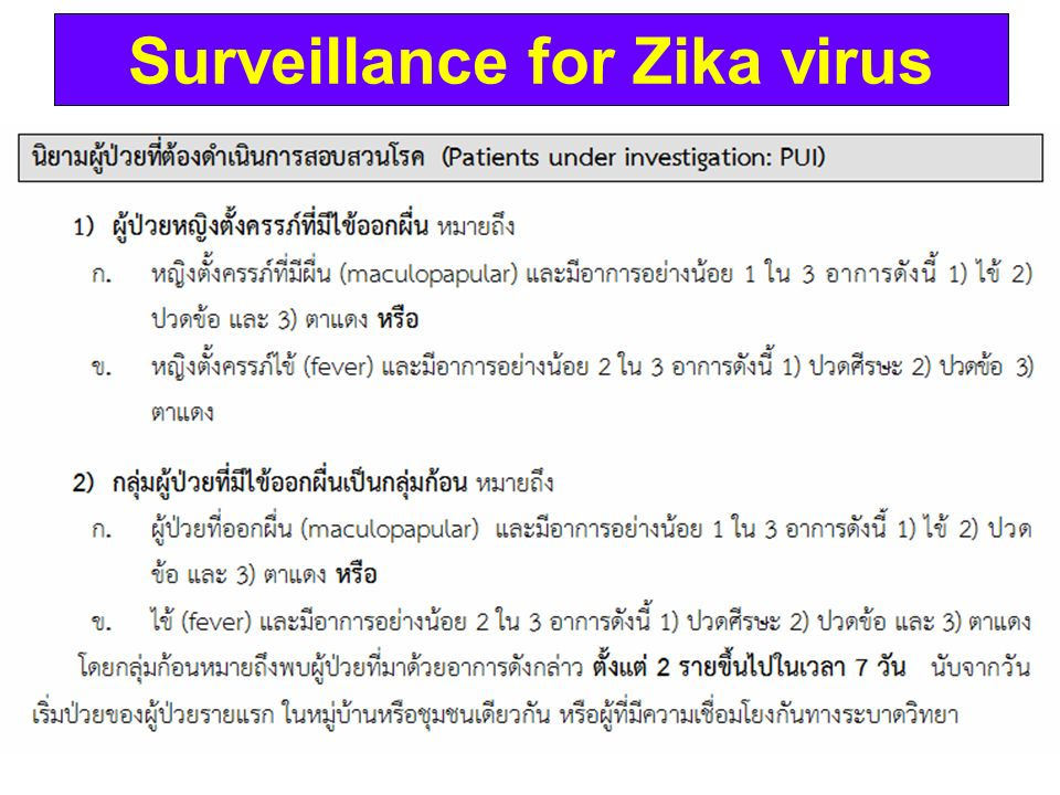 Surveillance for Zika virus