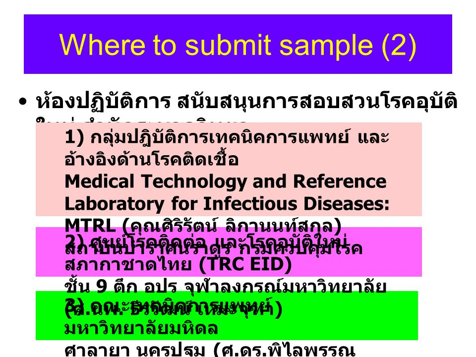 Where to submit sample (2)