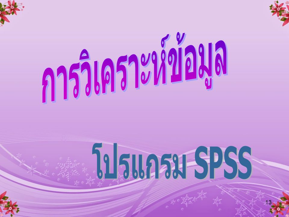 การวิเคราะห์ข้อมูล โปรแกรม SPSS