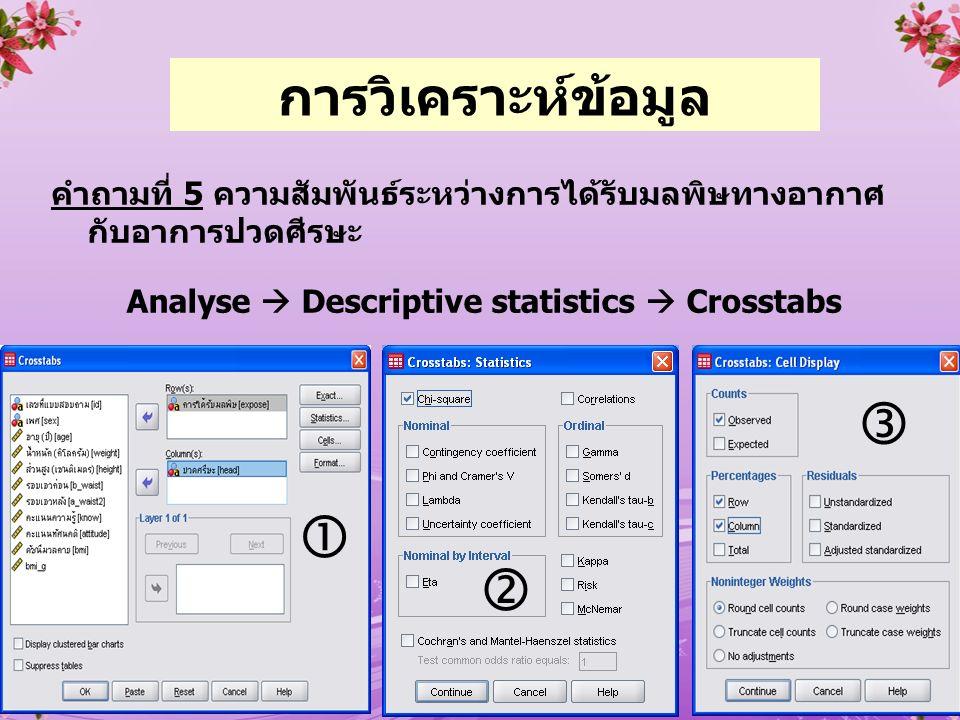 Analyse  Descriptive statistics  Crosstabs