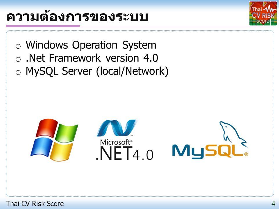 ความต้องการของระบบ Windows Operation System .Net Framework version 4.0