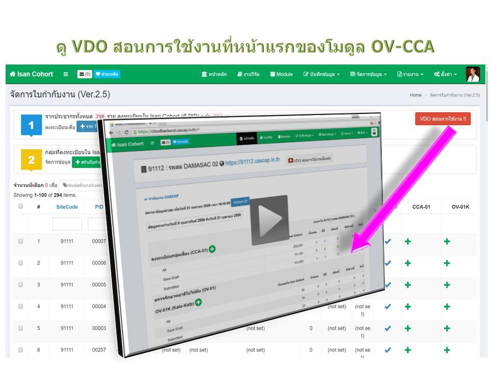ดู VDO สอนการใช้งานที่หน้าแรกของโมดูล OV-CCA