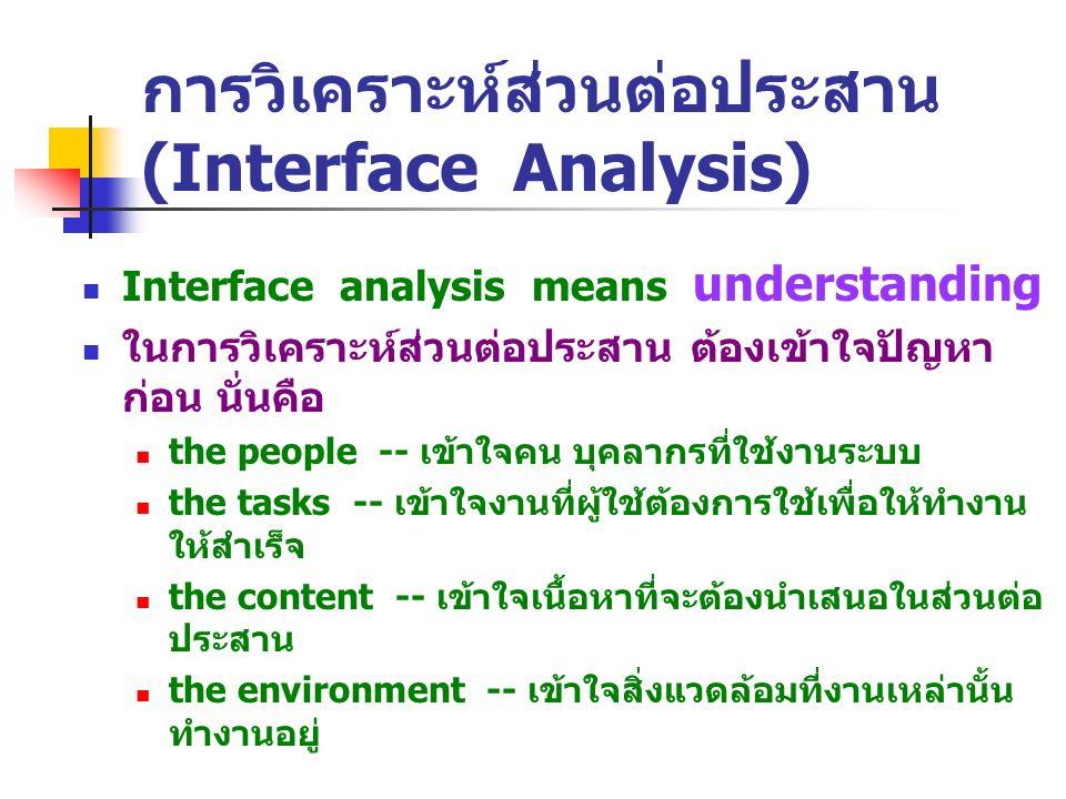 การวิเคราะห์ส่วนต่อประสาน (Interface Analysis)