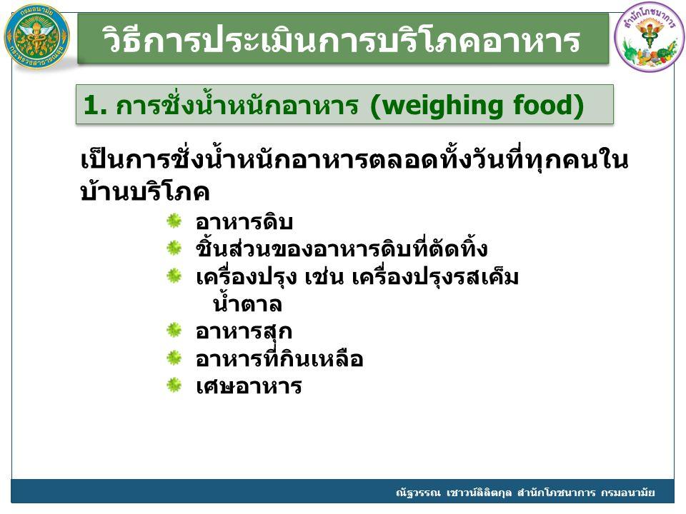 วิธีการประเมินการบริโภคอาหาร
