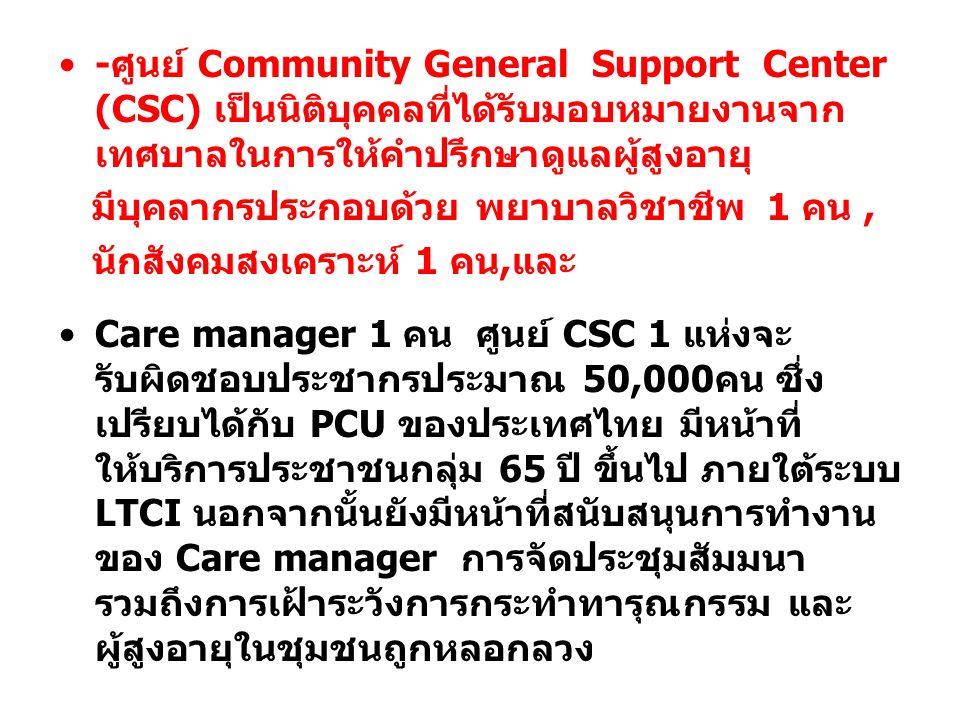 -ศูนย์ Community General Support Center (CSC) เป็นนิติบุคคลที่ได้รับมอบหมายงานจากเทศบาลในการให้คำปรึกษาดูแลผู้สูงอายุ