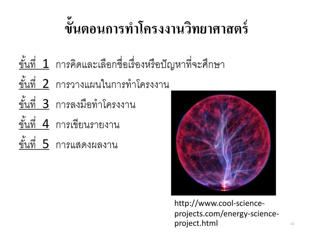 ขั้นตอนการทำโครงงานวิทยาศาสตร์