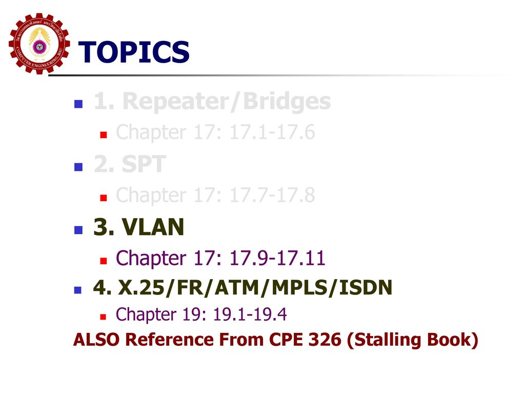 TOPICS 1. Repeater/Bridges 2. SPT 3. VLAN Chapter 17: 17.1-17.6