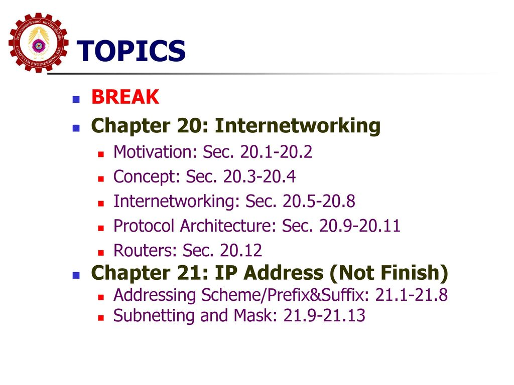 TOPICS BREAK Chapter 20: Internetworking