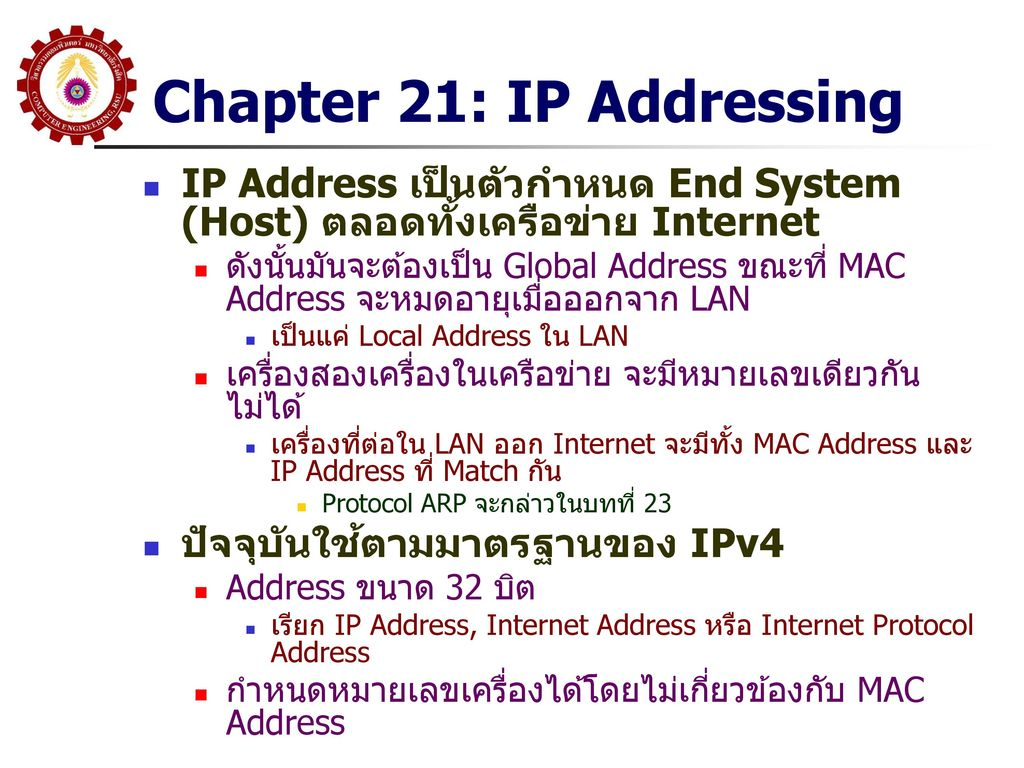 Chapter 21: IP Addressing