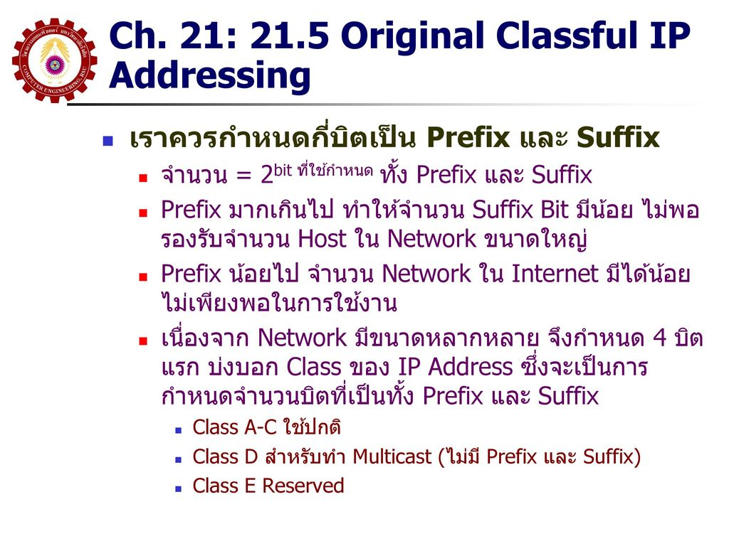 Ch. 21: 21.5 Original Classful IP Addressing