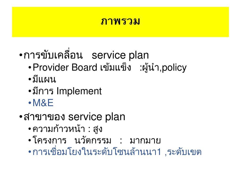 ภาพรวม การขับเคลื่อน service plan สาขาของ service plan