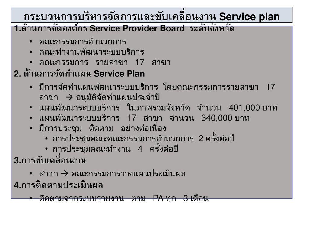 กระบวนการบริหารจัดการและขับเคลื่อนงาน Service plan