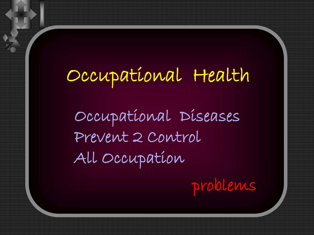 Occupational Health Occupational Diseases Prevent 2 Control