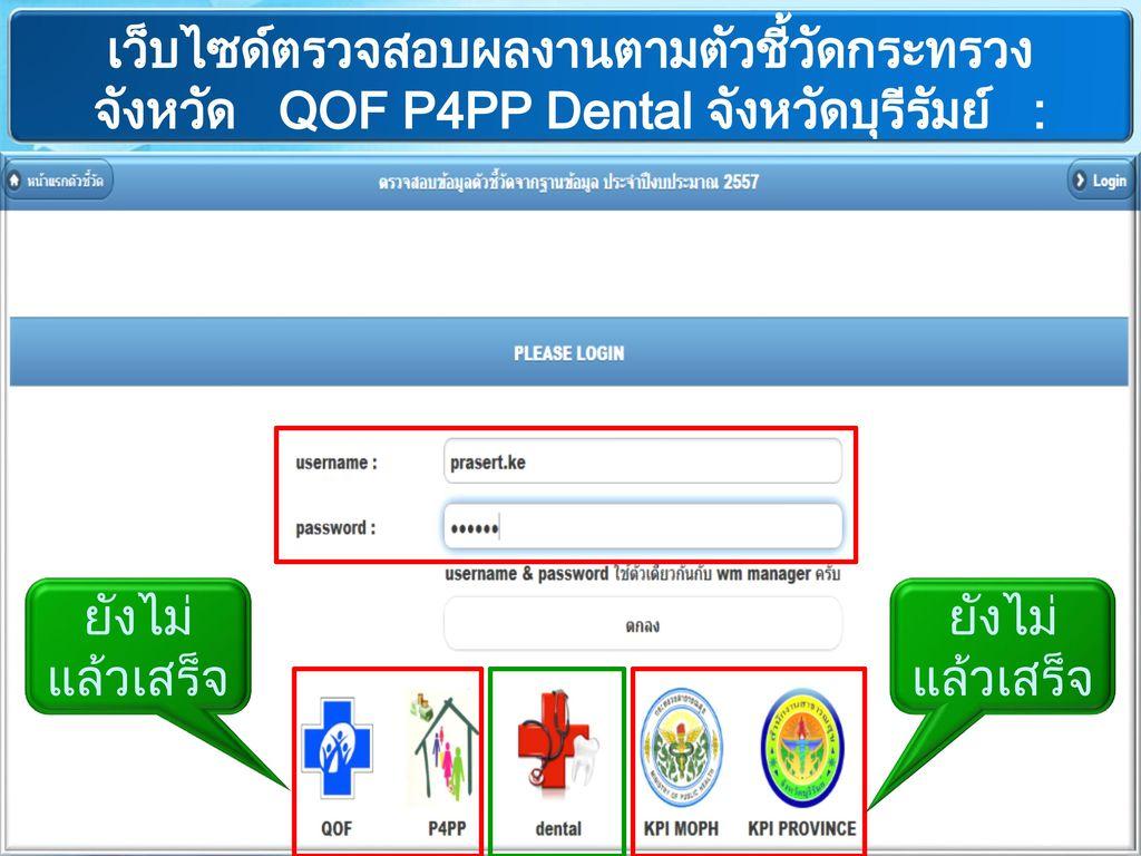 เว็บไซด์ตรวจสอบผลงานตามตัวชี้วัดกระทรวง จังหวัด QOF P4PP Dental จังหวัดบุรีรัมย์ : http://203.157.162.18/kpi_all57/
