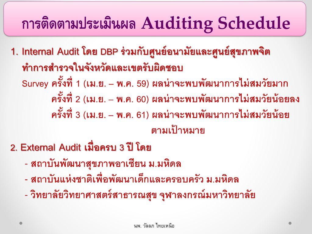 การติดตามประเมินผล Auditing Schedule