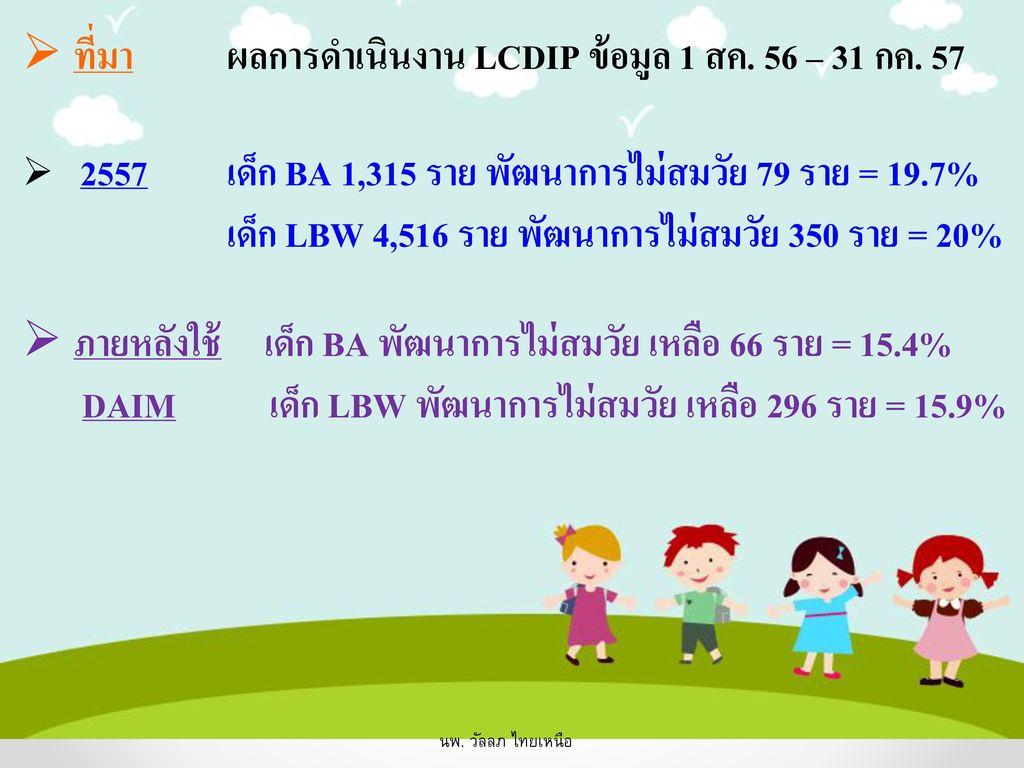 ที่มา ผลการดำเนินงาน LCDIP ข้อมูล 1 สค. 56 – 31 กค. 57