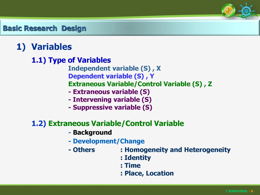 1) Variables Basic Research Design 1.1) Type of Variables