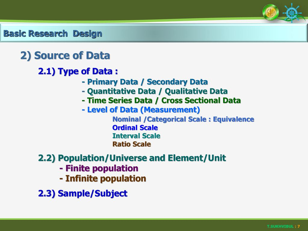 2) Source of Data Basic Research Design 2.1) Type of Data :