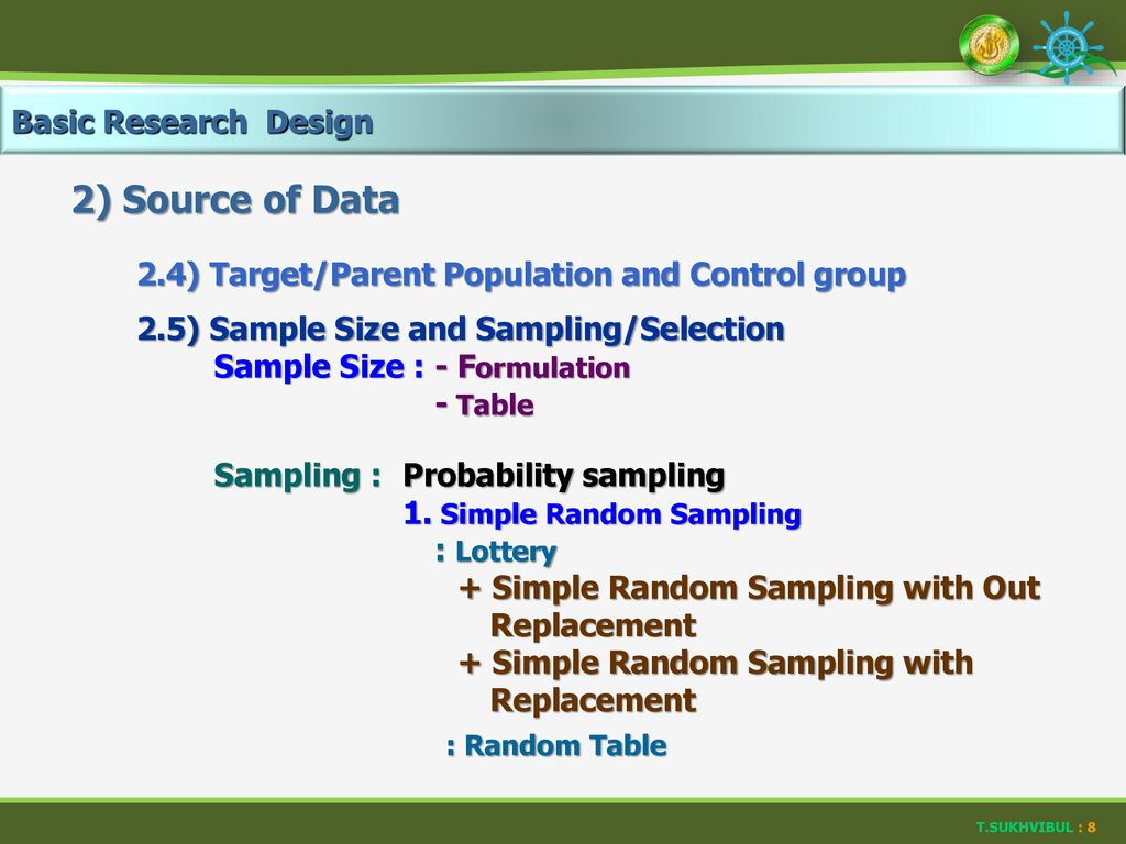 2) Source of Data Basic Research Design