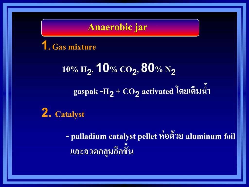 Anaerobic jar 1. Gas mixture 10% H2, 10% CO2, 80% N2