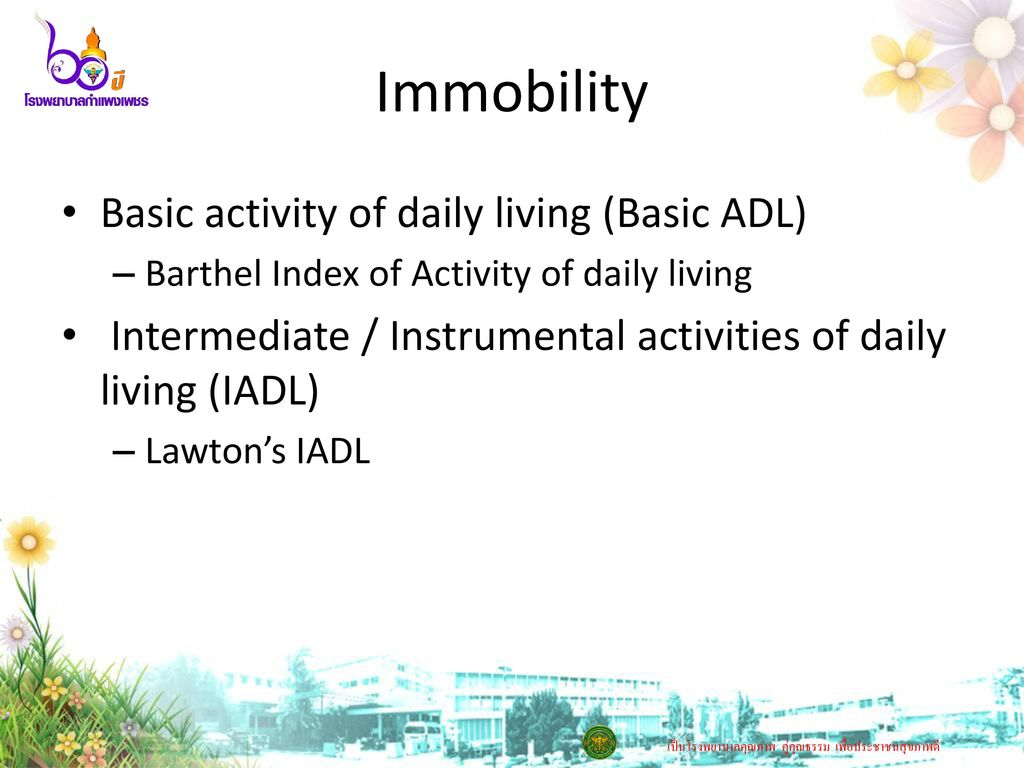 Immobility Basic activity of daily living (Basic ADL)