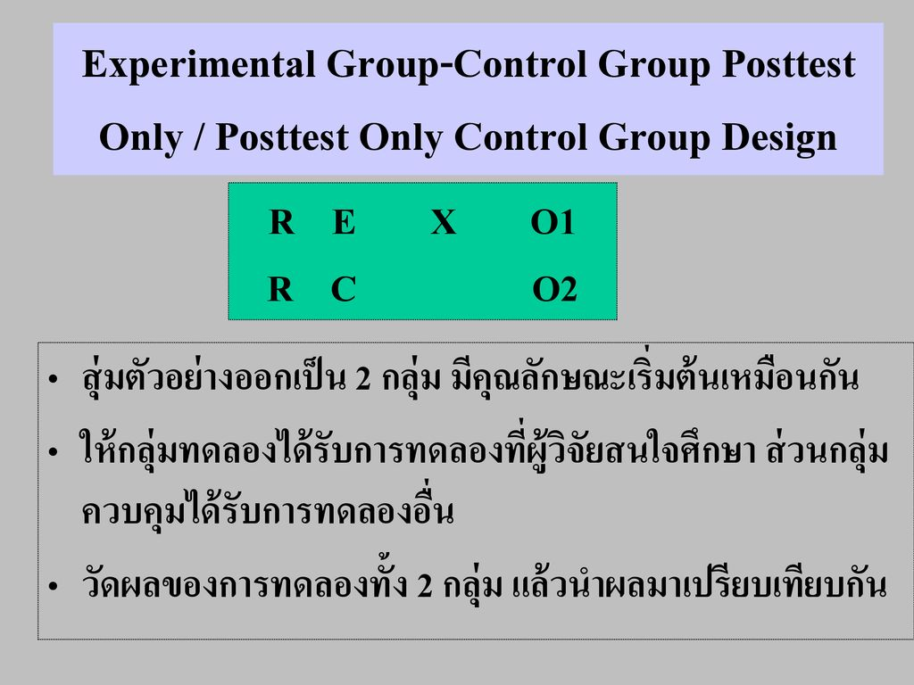 Experimental Group-Control Group Posttest Only / Posttest Only Control Group Design