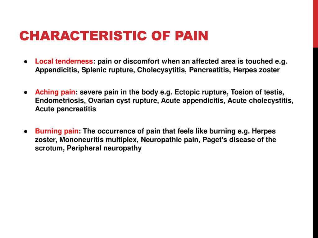 Characteristic of pain