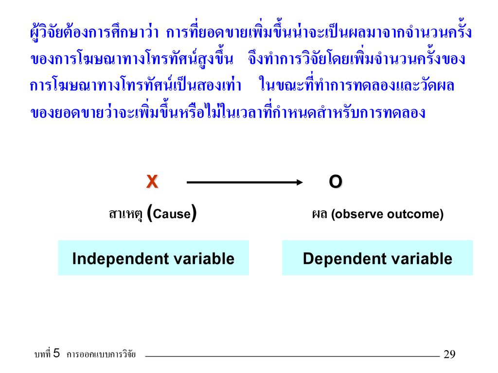 X O Independent variable Dependent variable
