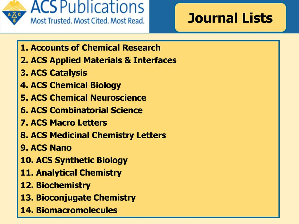 Journal Lists 1. Accounts of Chemical Research