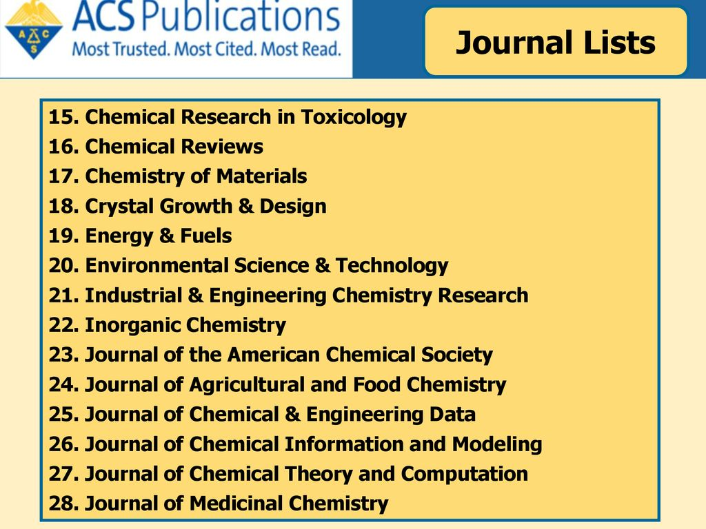 Journal Lists 15. Chemical Research in Toxicology 16. Chemical Reviews