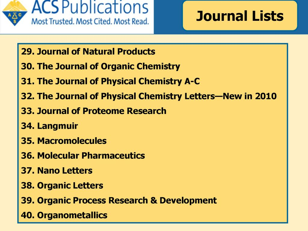 Journal Lists 29. Journal of Natural Products