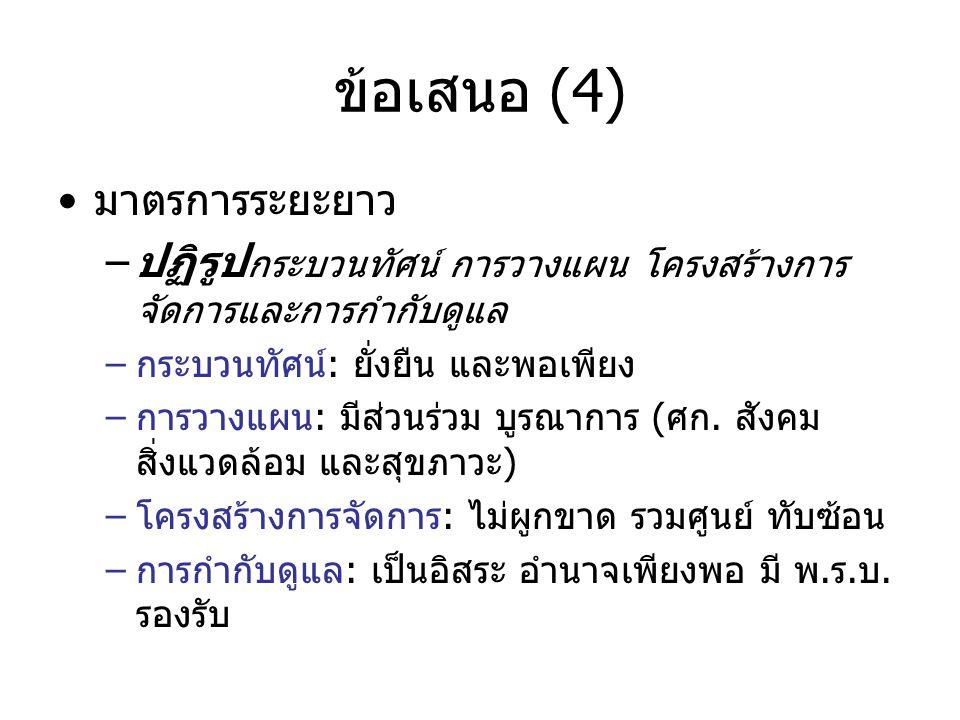 ข้อเสนอ (4) มาตรการระยะยาว