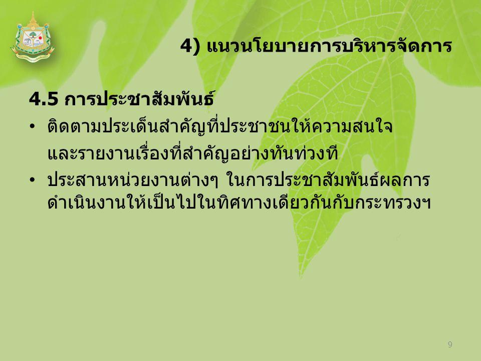 4) แนวนโยบายการบริหารจัดการ