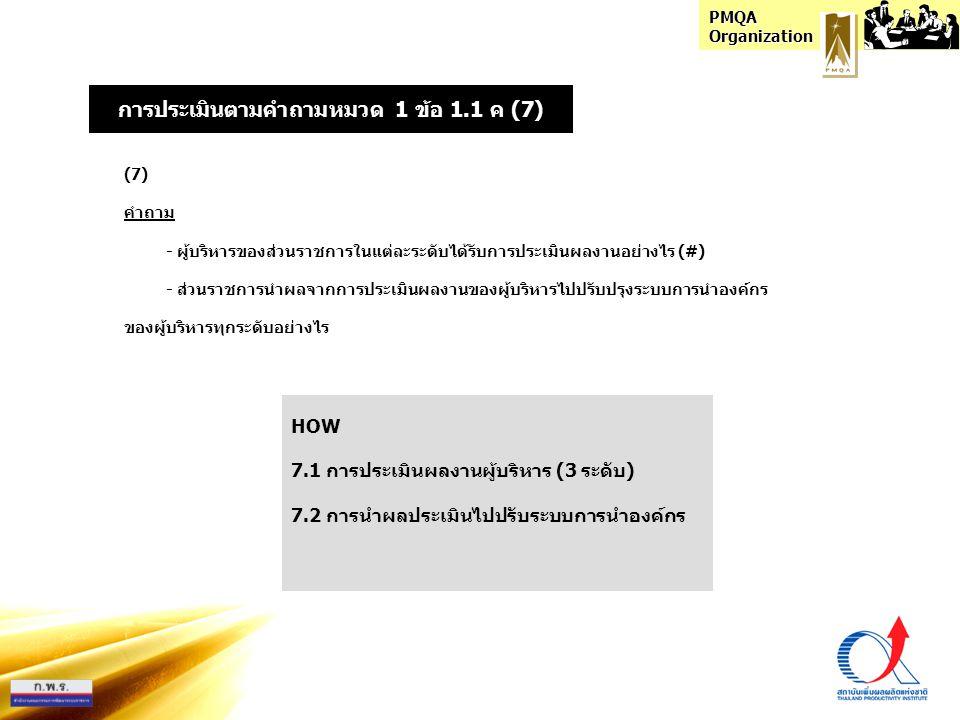 การประเมินตามคำถามหมวด 1 ข้อ 1.1 ค (7)
