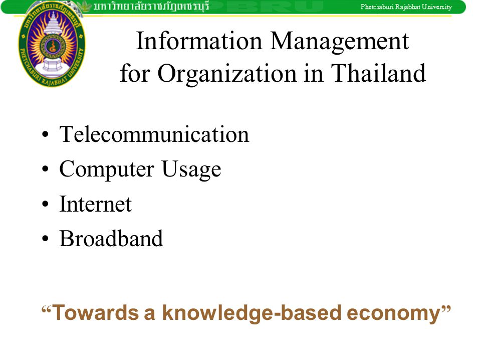 Information Management for Organization in Thailand
