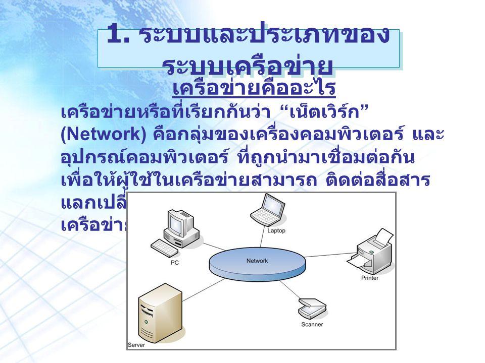 1. ระบบและประเภทของระบบเครือข่าย